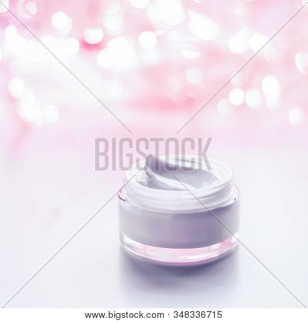 Facial Cream Moisturizer Jar On Holiday Glitter Background, Moisturizing Skin Care As Lifting Emulsi