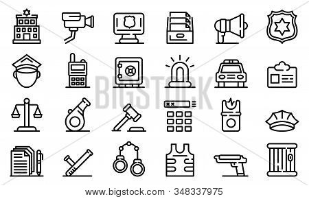 Police Station Icons Set. Outline Set Of Police Station Vector Icons For Web Design Isolated On Whit
