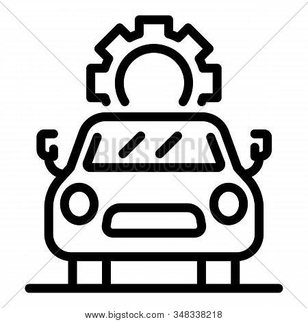 Car With Gear Above It Icon. Outline Car With Gear Above It Vector Icon For Web Design Isolated On W