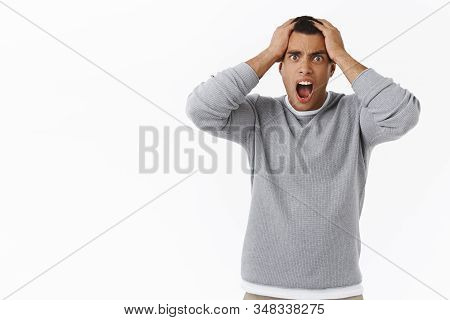 Man In Panic Grab His Head And Shouting Pressured, Losing Money, Facing Huge Problem, Standing Troub