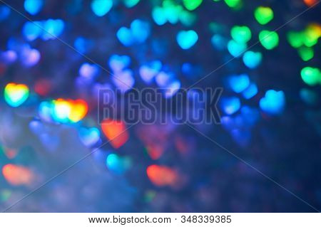 Valentine's Day,colorful Background With Defocused Lights. Multicolor Blurred Background. Blyur, Bok