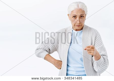 Strict, Serious-looking Displeased And Angry Senior Woman, Grandmother Disappointed Bad Behaviour, S