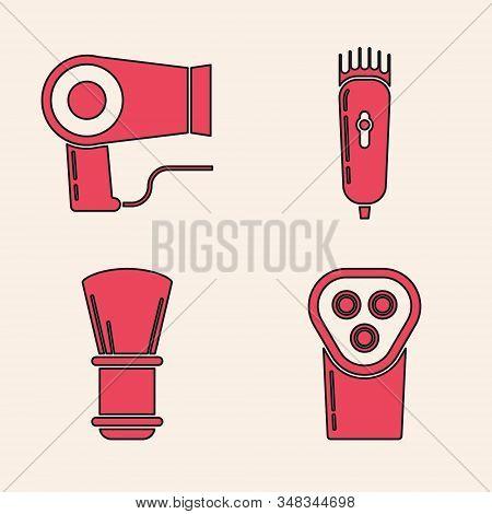 Set Electrical Hair Clipper Or Shaver, Hair Dryer, Electrical Hair Clipper Or Shaver And Shaving Bru
