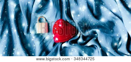Valentines Day Abstract Background, Heart Shaped Jewellery Gift Box On Silk Backdrop, Love Dating An