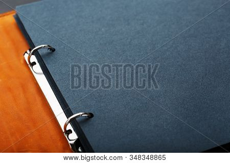Photo Album With Blank Black For Photos. Split Rings For Close-up Macro Albums.the Album Cover Is Ma