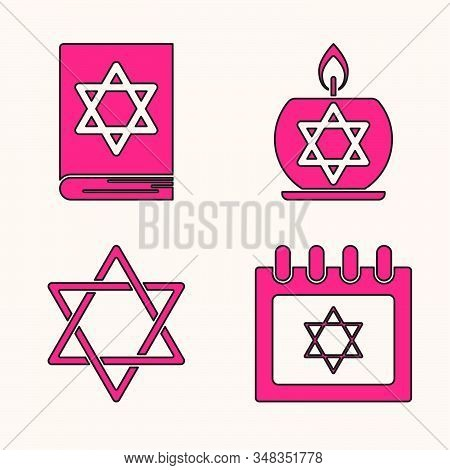 Set Jewish Calendar With Star Of David, Jewish Torah Book, Burning Candle In Candlestick With Star O