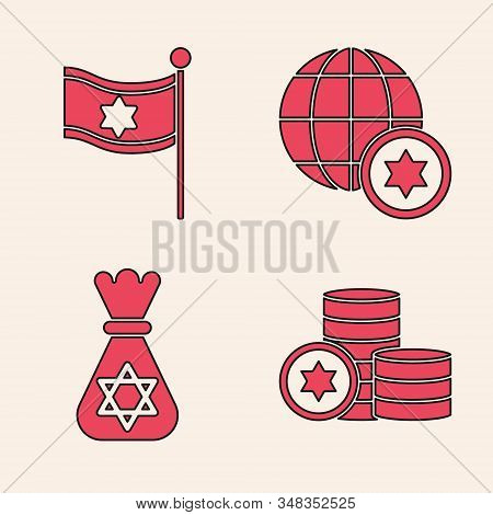 Set Jewish Coin, Flag Of Israel, World Globe And Israel And Jewish Money Bag With Star Of David Icon