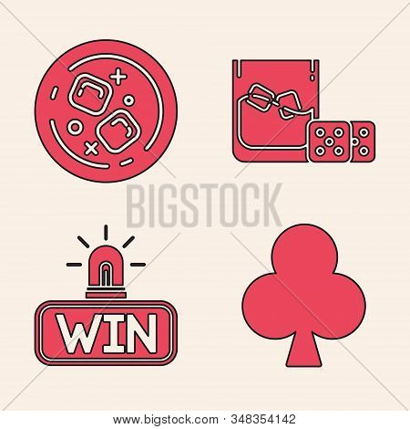 Set Playing Card With Clubs Symbol, Glass Of Whiskey And Ice Cubes, Game Dice And Glass Of Whiskey W
