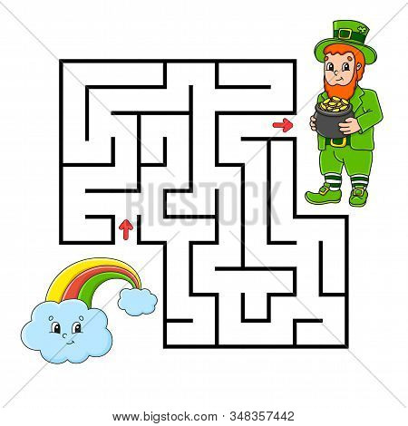 Square Maze. Game For Kids. Leprechaun And Rainbow. Puzzle For Children. Labyrinth Conundrum. Color