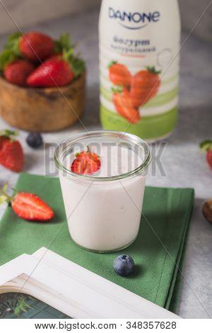 Kyiv, Ukraine - Jenuary 05, 2020: Danone Yogurt Botl. Smoothie Or Smoothy Bowl With Granola, Fruits