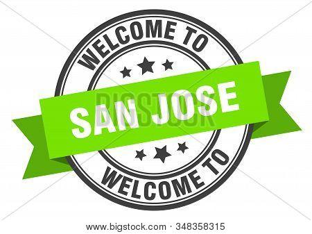 San Jose Stamp. Welcome To San Jose Green Sign