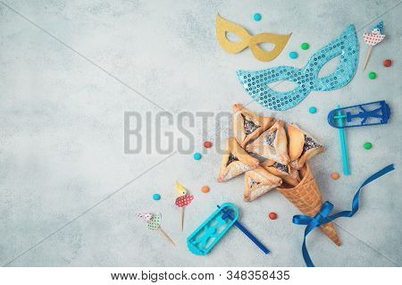 Jewish Holiday Purim Celebration Background. Top View From Above