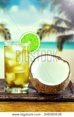 Mate Carioca, Typical Cold Drink On The Beaches Of Rio De Janeiro. Image With Space For Text, Refres