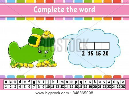 Complete The Words. Cipher Code. Leprechaun Boot With Coins. Learning Vocabulary And Numbers. Educat