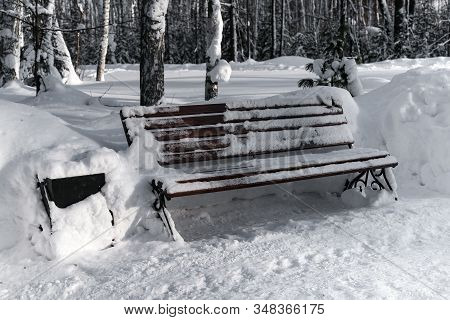 Lonely Snowy Bench In A Winter Park
