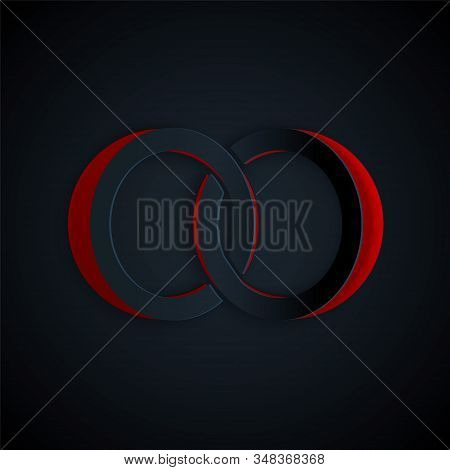 Paper Cut Wedding Rings Icon Isolated On Black Background. Bride And Groom Jewelery Sign. Marriage I
