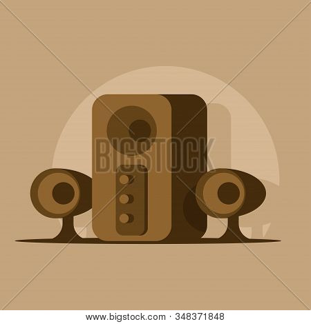 Vector Image Of Loudspeakers And Subwoofer Box