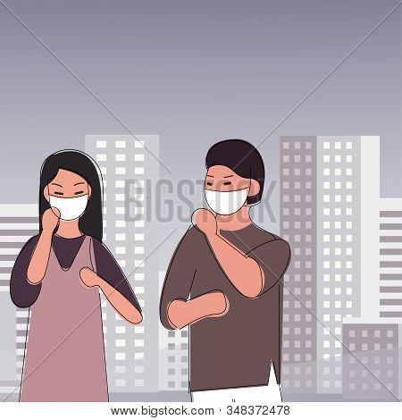 Sad People Wearing Protective Face Masks Walking On Street. Fine Dust, Air Pollution, Industrial Smo