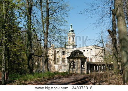 Wandlitz, Brandenburg, Germany - April 17, 20019: The Ruins Of Schloss Dammsmuehle