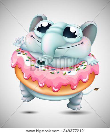 Funny Cartoon Elephant Dancing With Donut  . Vector Illustration