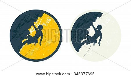 Set Of Two Round Labels With Climber. Silhouette Of Young Man Hanging In Overhang In Rock Wall. No R