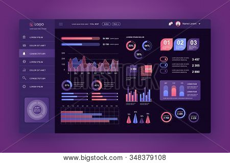 Dashboard Ui. Admin Panel Vector Design Template With Infographic Elements, Hud Diagram, Info Graphi