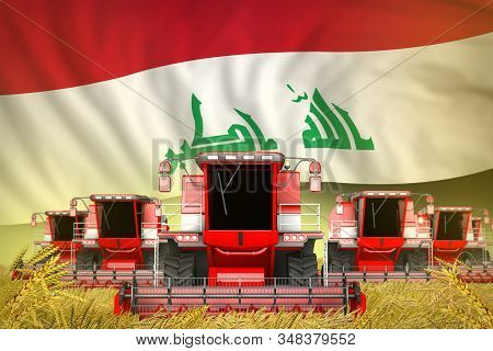 Many Red Farming Combine Harvesters On Farm Field With Iraq Flag Background - Front View, Stop Starv