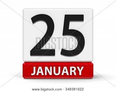 Red And White Calendar Icon From Cubes - The Twenty Fifth Of January - On A White Table, Three-dimen