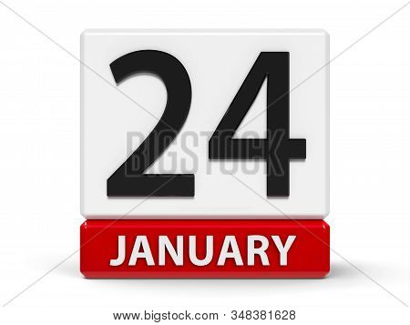 Red And White Calendar Icon From Cubes - The Twenty Fourth Of January - On A White Table - Internati
