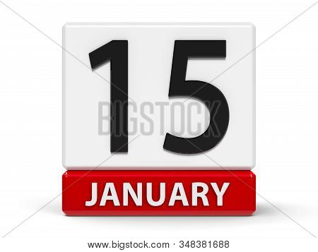 Red And White Calendar Icon From Cubes - The Fifteenth Of January - On A White Table, Three-dimensio
