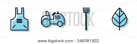 Set Line Garden Pitchfork, Kitchen Apron, Tractor And Leaf Icon. Vector