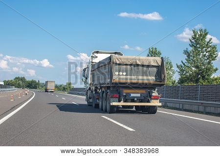 Heavy Industry Dump Truck On The Highway