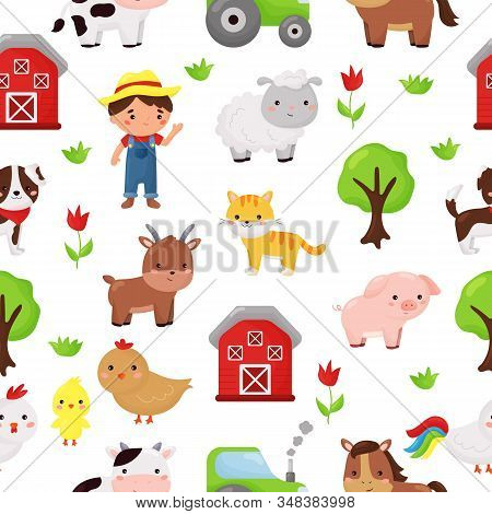 Childish Cartoon Seamless Pattern. Kawaii Animals And Farmer. Barnyard And Plants. Farm Animals.
