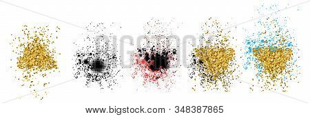 Abstract Vector Stippling Texture Splashes. Trendy Objects For Design