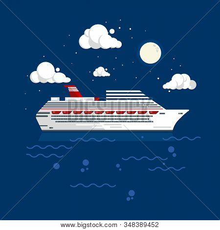 Cruise Liner Flat Style Vector Illustration. White Big Cruise Ship Drifts In The Ocean At Night.
