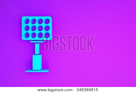 Blue Bright Stadium Lights Icon Isolated On Purple Background. Spotlight On A Football Field. Floodl