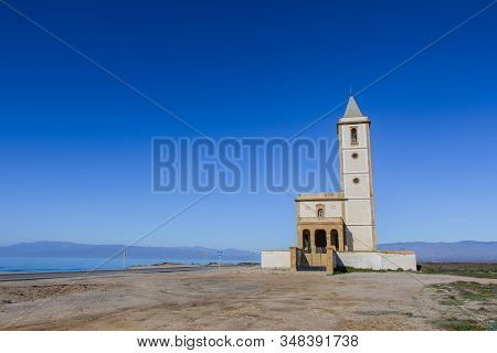 Cabo De Gata Church, Front View Of The Church Of Cabo De Gata, Almeria Province, Andalusia, Spain