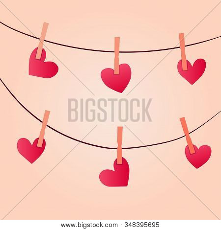 Vector Illustration Of Hearts Attached To A Rope On Clothespins On A Pink Background.