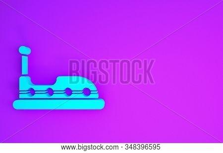 Blue Bumper Car Icon Isolated On Purple Background. Amusement Park. Childrens Entertainment Playgrou