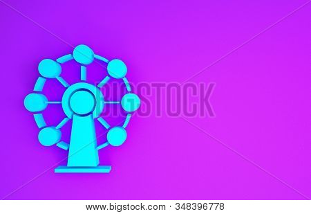 Blue Ferris Wheel Icon Isolated On Purple Background. Amusement Park. Childrens Entertainment Playgr