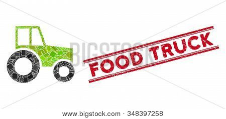Mosaic Wheeled Tractor Icon And Red Food Truck Seal Stamp Between Double Parallel Lines. Flat Vector
