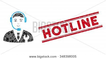 Mosaic Call Center Boss Icon And Red Hotline Seal Stamp Between Double Parallel Lines. Flat Vector C