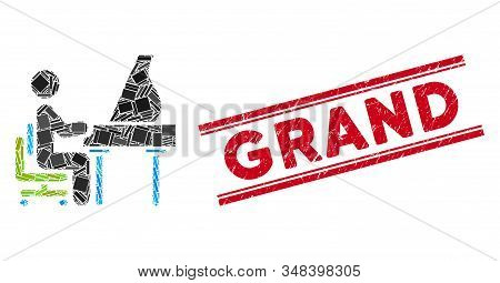 Mosaic Grand Piano Performer Pictogram And Red Grand Seal Stamp Between Double Parallel Lines. Flat