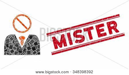 Mosaic Mister No Pictogram And Red Mister Seal Stamp Between Double Parallel Lines. Flat Vector Mist