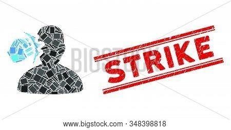Mosaic Head Strike Icon And Red Strike Rubber Print Between Double Parallel Lines. Flat Vector Head