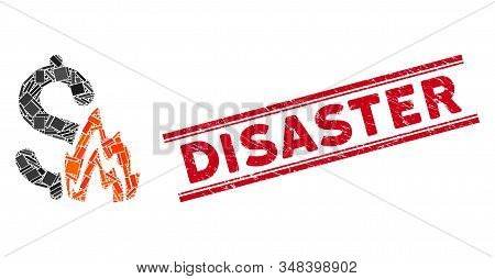 Mosaic Fire Disaster Pictogram And Red Disaster Stamp Between Double Parallel Lines. Flat Vector Fir