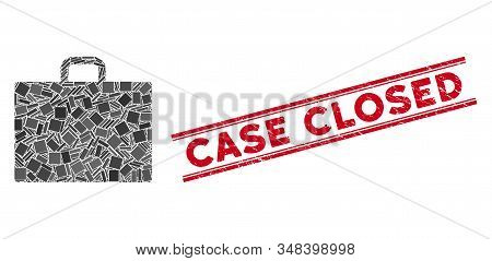 Mosaic Case Icon And Red Case Closed Rubber Print Between Double Parallel Lines. Flat Vector Case Mo