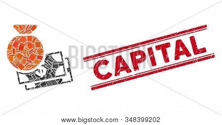 Mosaic Capital Pictogram And Red Capital Stamp Between Double Parallel Lines. Flat Vector Capital Mo