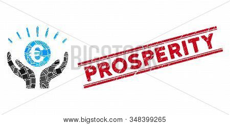 Mosaic Euro Prosperity Icon And Red Prosperity Stamp Between Double Parallel Lines. Flat Vector Euro
