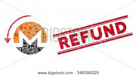 Mosaic Refund Monero Icon And Red Refund Seal Stamp Between Double Parallel Lines. Flat Vector Refun
